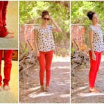 red flares into skinnies and a square top