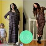 Downsizing a striped knit dress and excuse the messy house