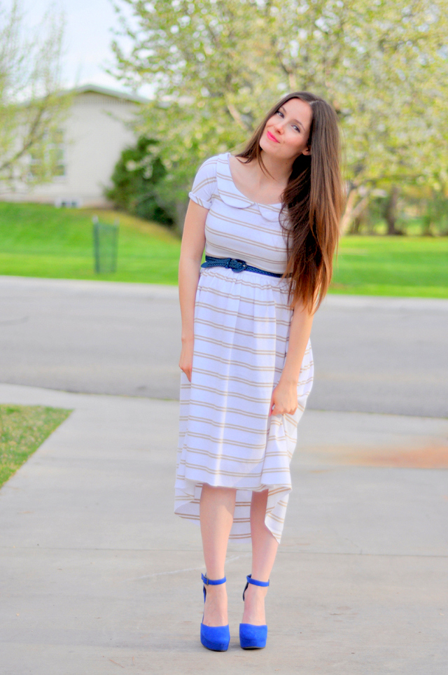 This is a trendy striped maternity dress with a tapered bottom. Can be worn after pregnancy too! thus this striped knit tapered dress was created with the goal to fit my growing belly and to wear with my non-prego belly (though I may have to take it in a little). I already converted an old knit top and long skirt into a maternity.