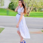 Maternity or non maternity striped knit tapered dress