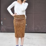 Very easy stretchy pencil skirt tutorial (can be worn long or short!)