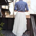 Sheer gathered low-high skirt tutorial