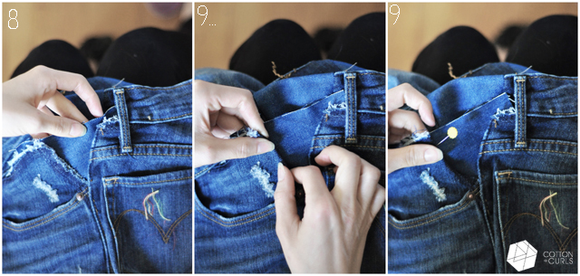 How do you enlarge the waistband in jeans?