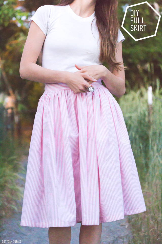 DIY gathered girly skirt with pockets tutorial