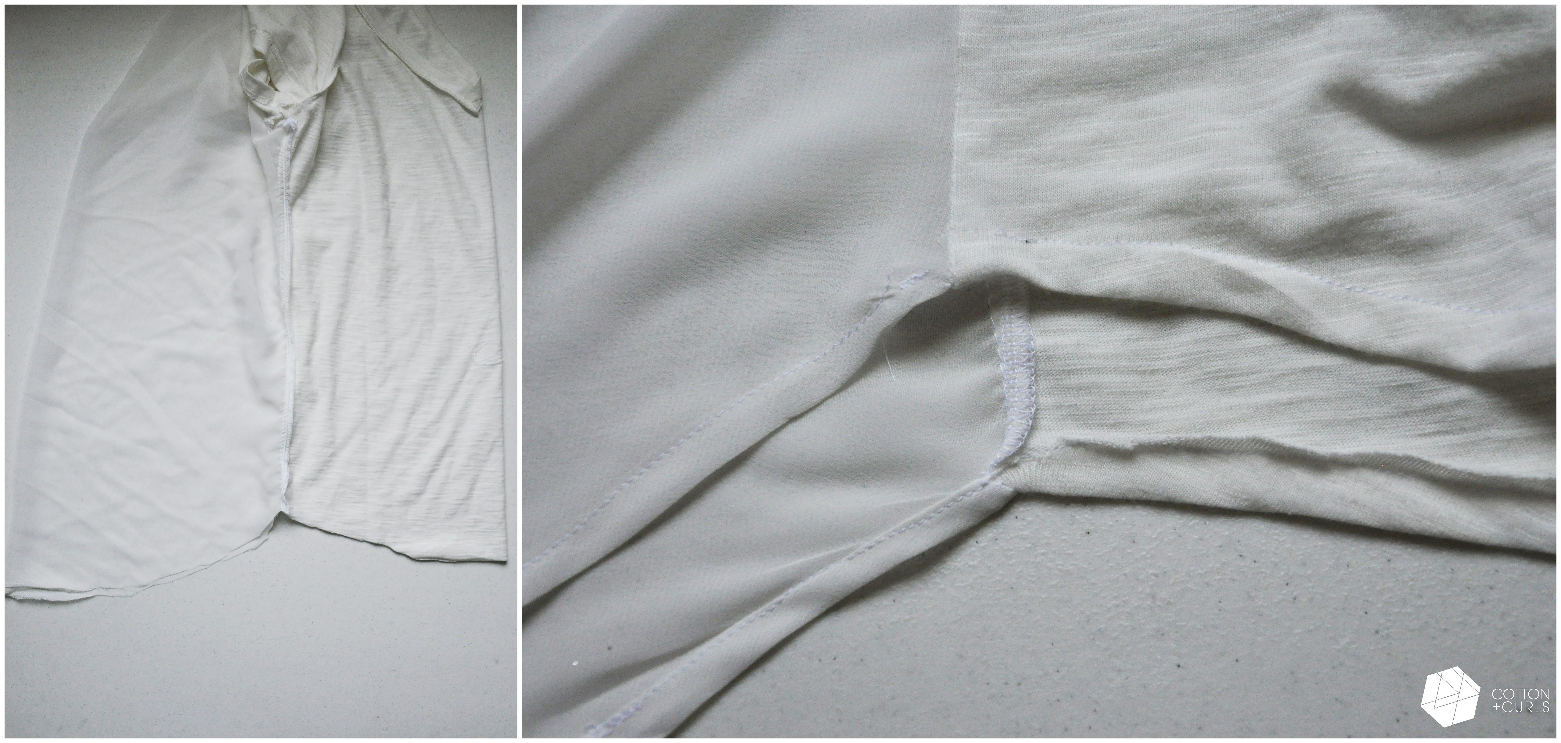 DIY tee shirt into sheer back shirt refashionstyled 2 different