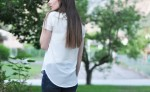 DIY tee shirt into sheer back shirt refashion – styled 2 different ways