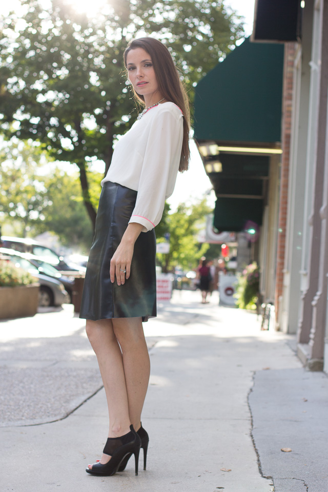 + DIY leather A-line skirt