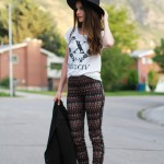 DIY leather side stripe up patterned pants