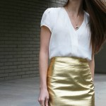 DIY metallic pencil skirt