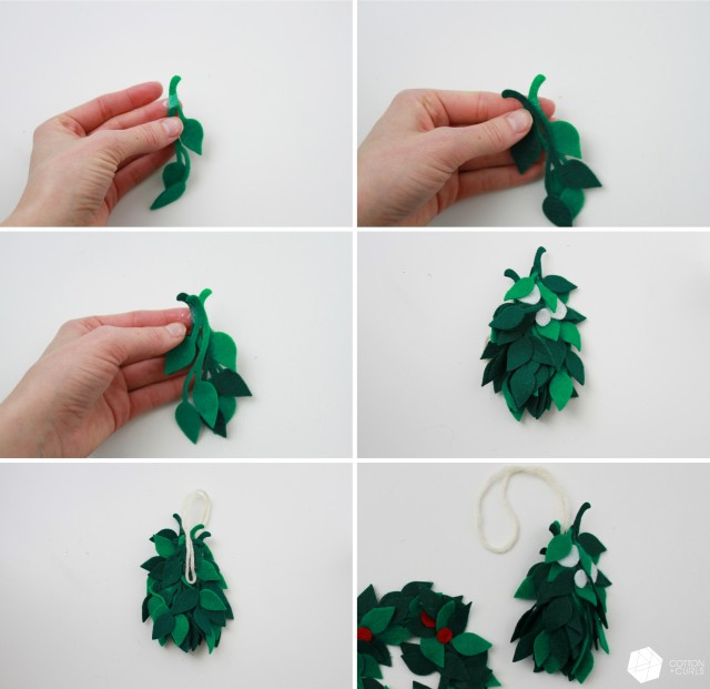 felt wreath and mistletoe