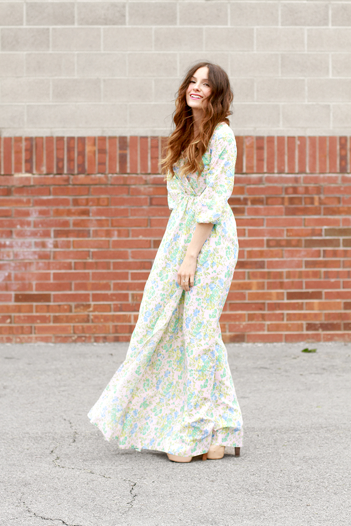 Maxi dress with sleeves sewing pattern
