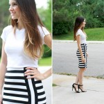 DIY perpendicular striped pencil skirt