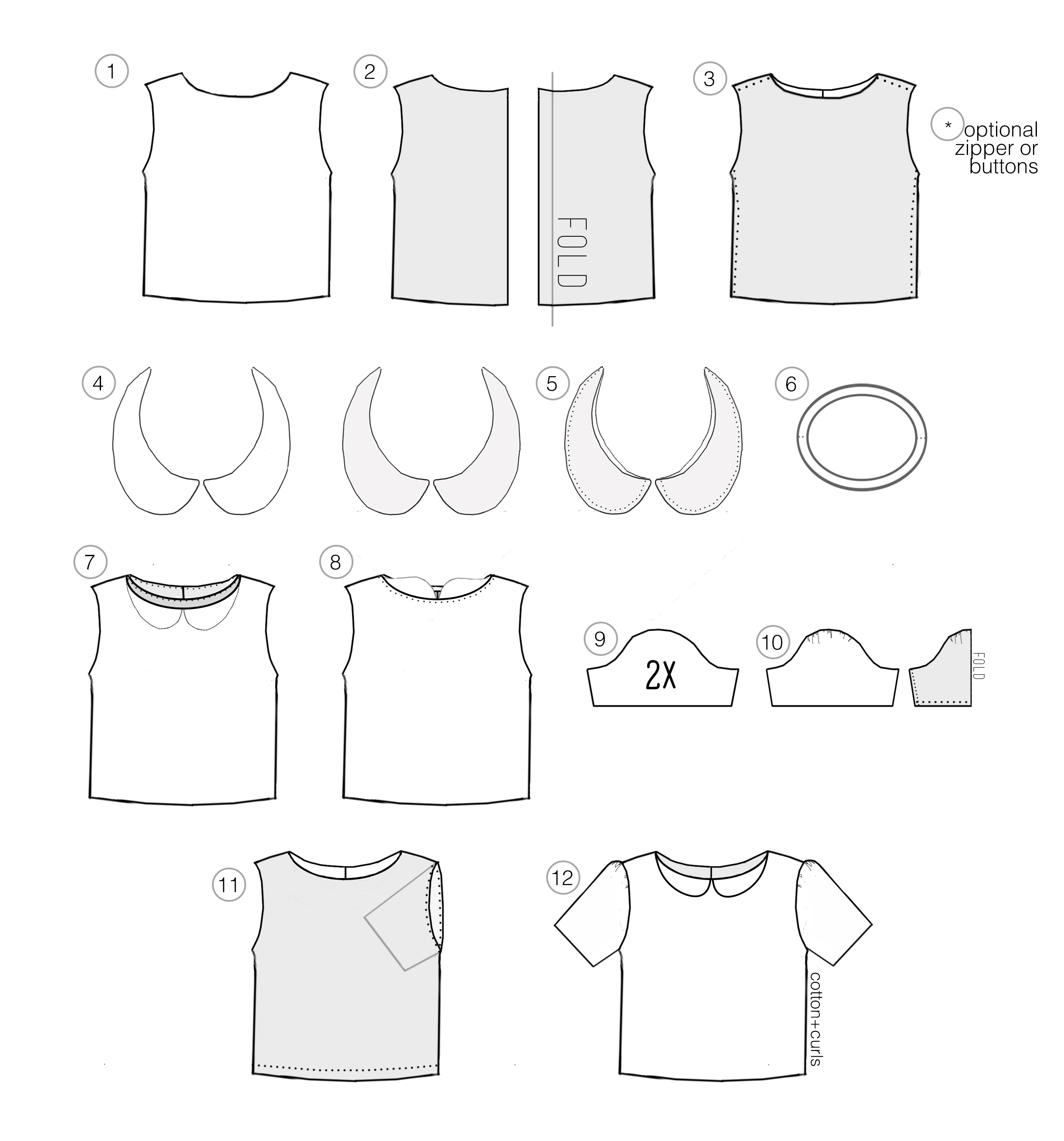 diy peter pan collar top with optional zipper or button back. Black Bedroom Furniture Sets. Home Design Ideas