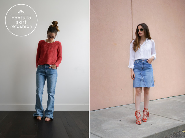 from jean pants to jean skirt
