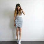 How to make an 80's inspired side ruffle knit skirt DIY