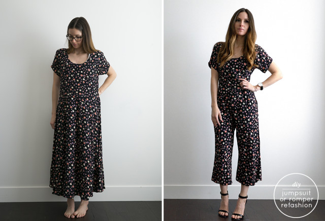 70a1a813de4 DIY very EASY dress to jumpsuit or romper refashion